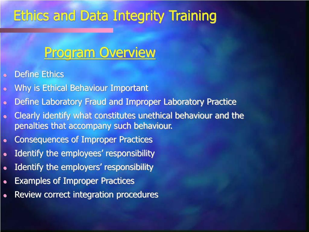 Ethics and Data Integrity Training