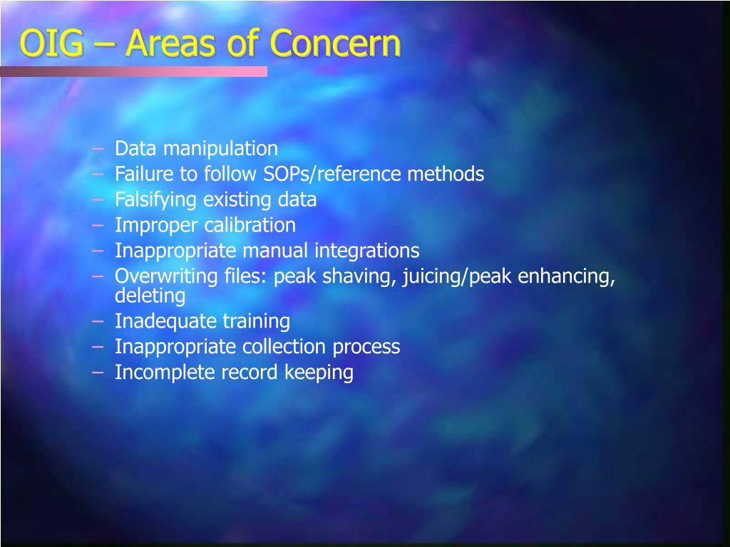 OIG – Areas of Concern