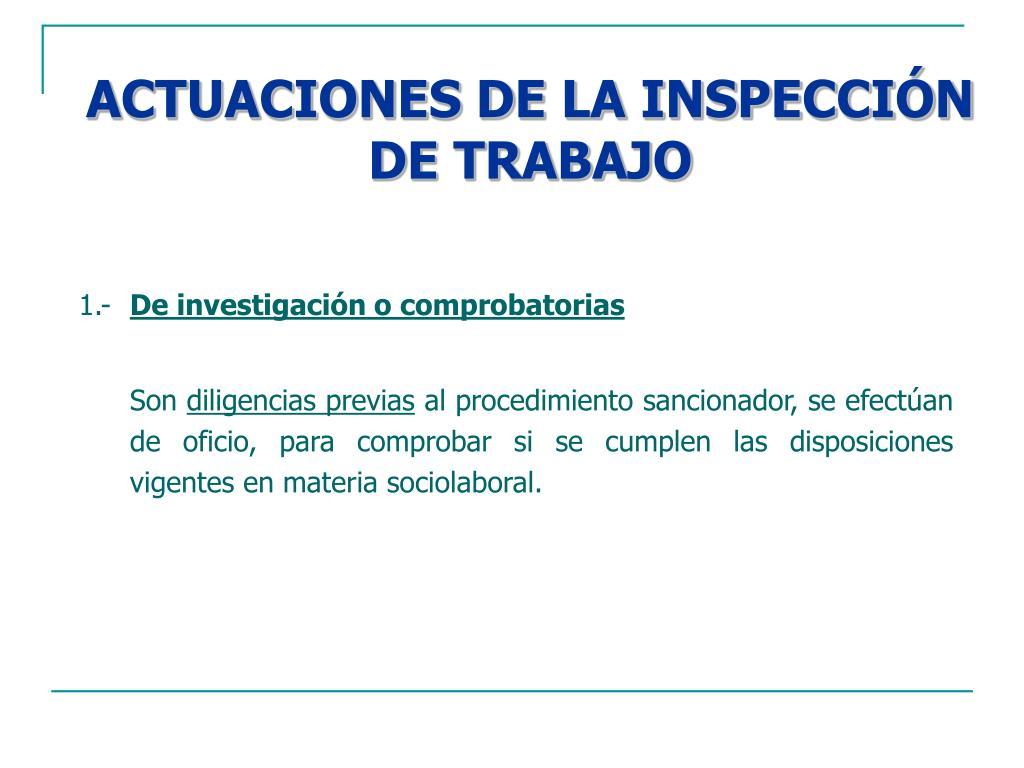 ACTUACIONES DE LA INSPECCIÓN DE TRABAJO
