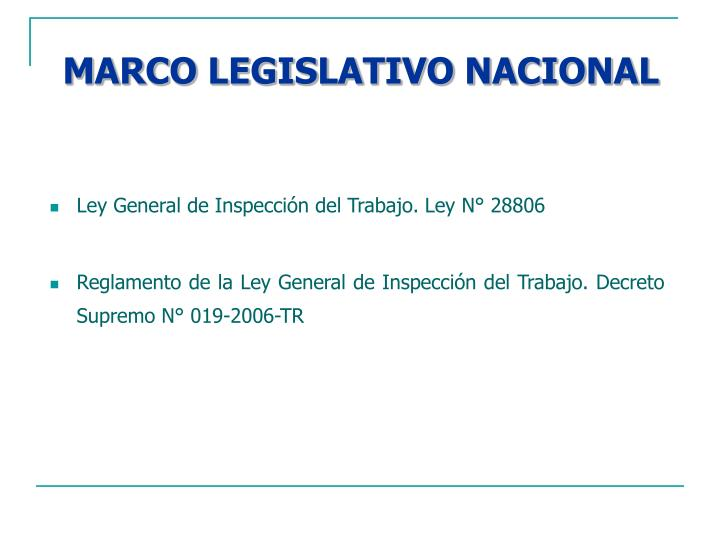 Marco legislativo nacional
