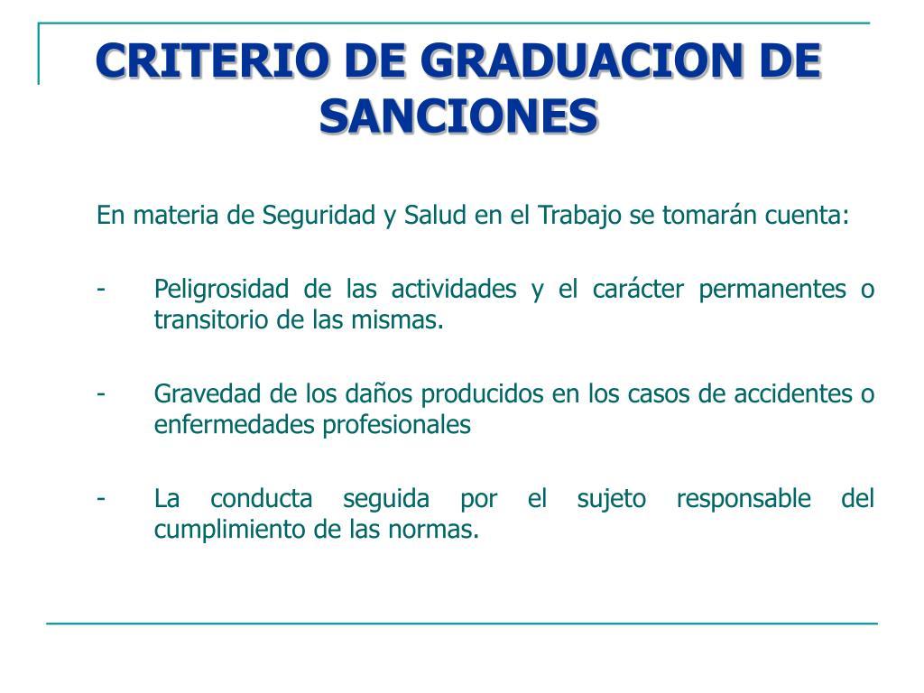 CRITERIO DE GRADUACION DE SANCIONES
