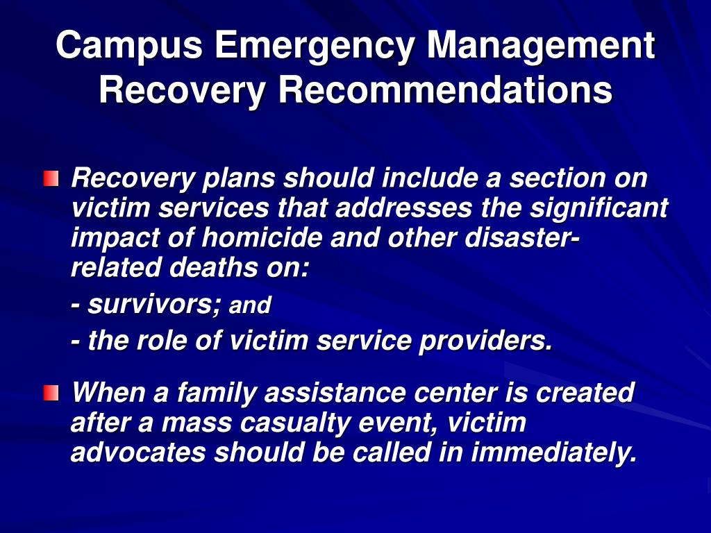 Campus Emergency Management Recovery Recommendations