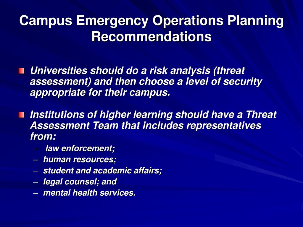 Campus Emergency Operations Planning Recommendations