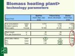 biomass heating plant technology parameters