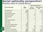 social optimality perspective monetary values for valuing impacts