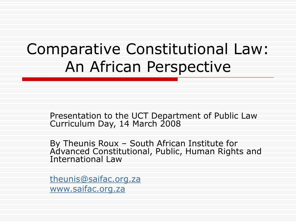 comparative constitutional law an african perspective l.