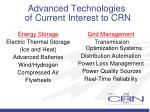 advanced technologies of current interest to crn10