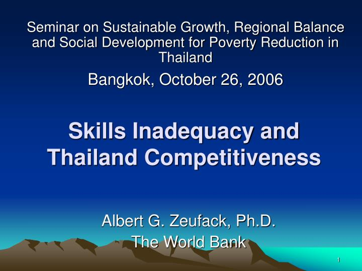 Skills inadequacy and thailand competitiveness