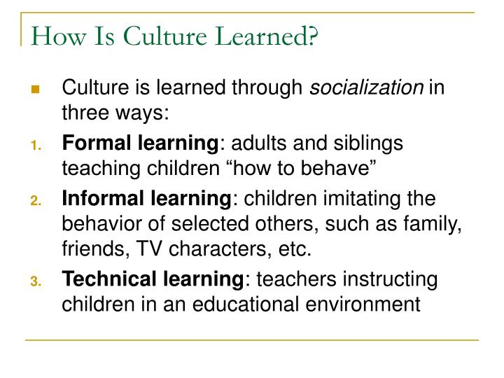 How is culture learned