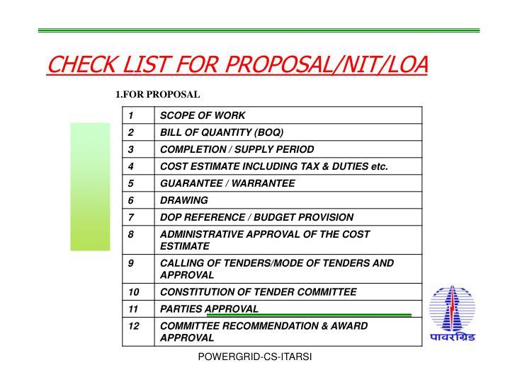 CHECK LIST FOR PROPOSAL/NIT/LOA