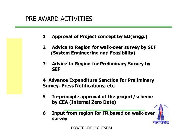 PRE-AWARD ACTIVITIES