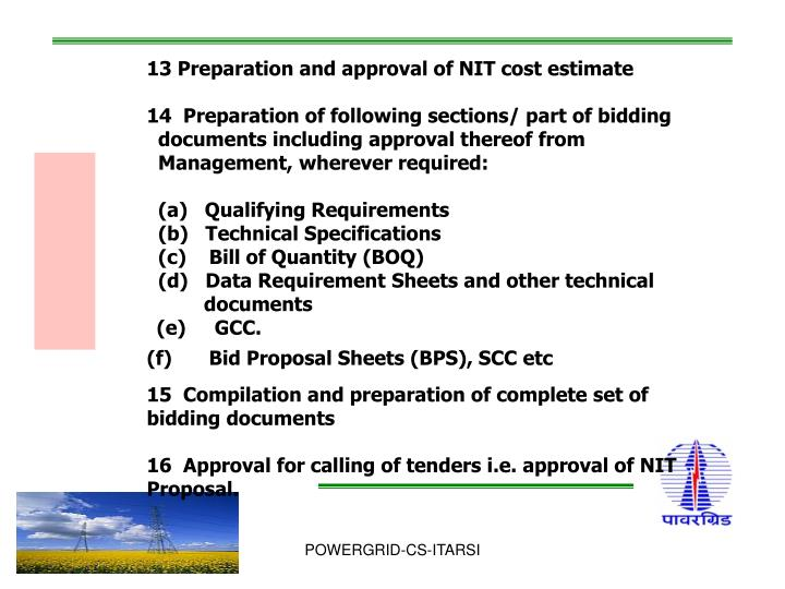 13 Preparation and approval of NIT cost estimate