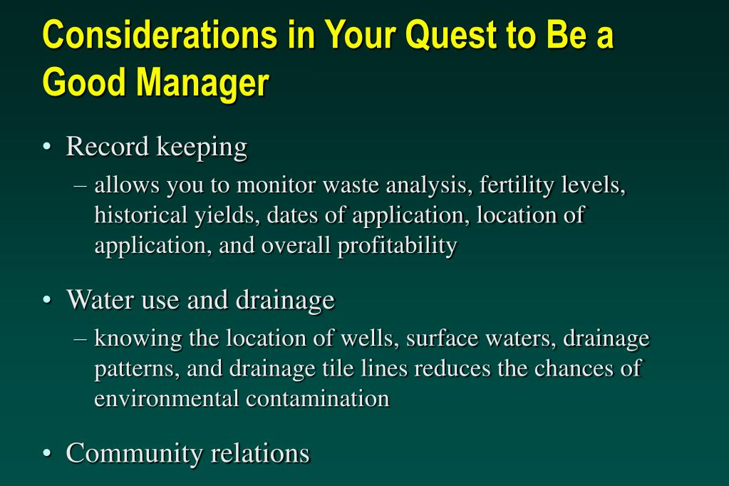 Considerations in Your Quest to Be a Good Manager