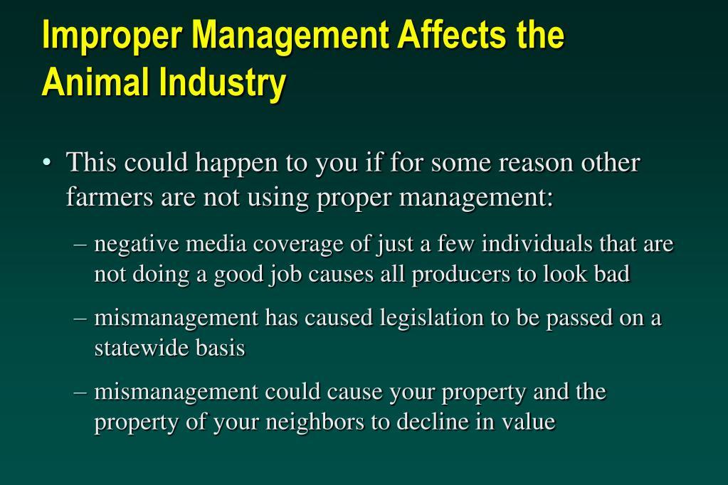Improper Management Affects the