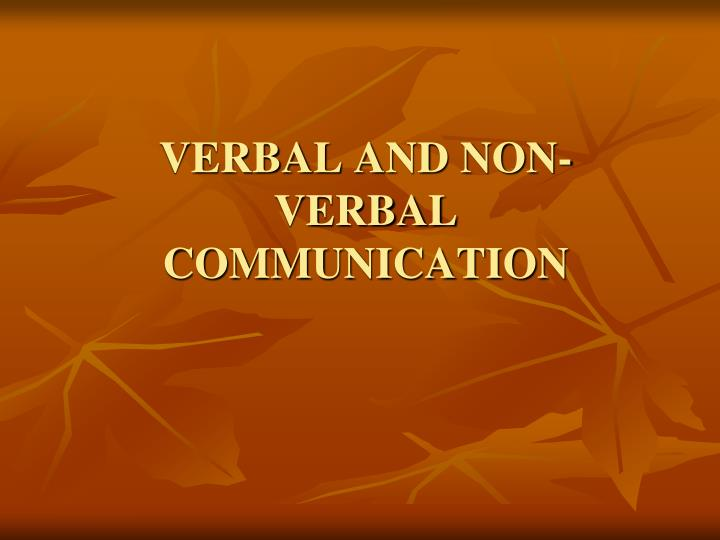 verbal and non verbal communication n.