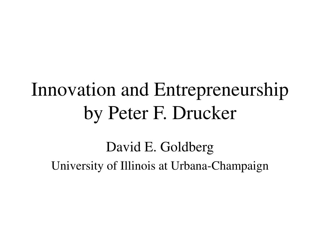 innovation and entrepreneurship by peter f drucker l.