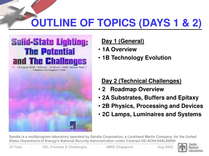 Outline of topics days 1 2