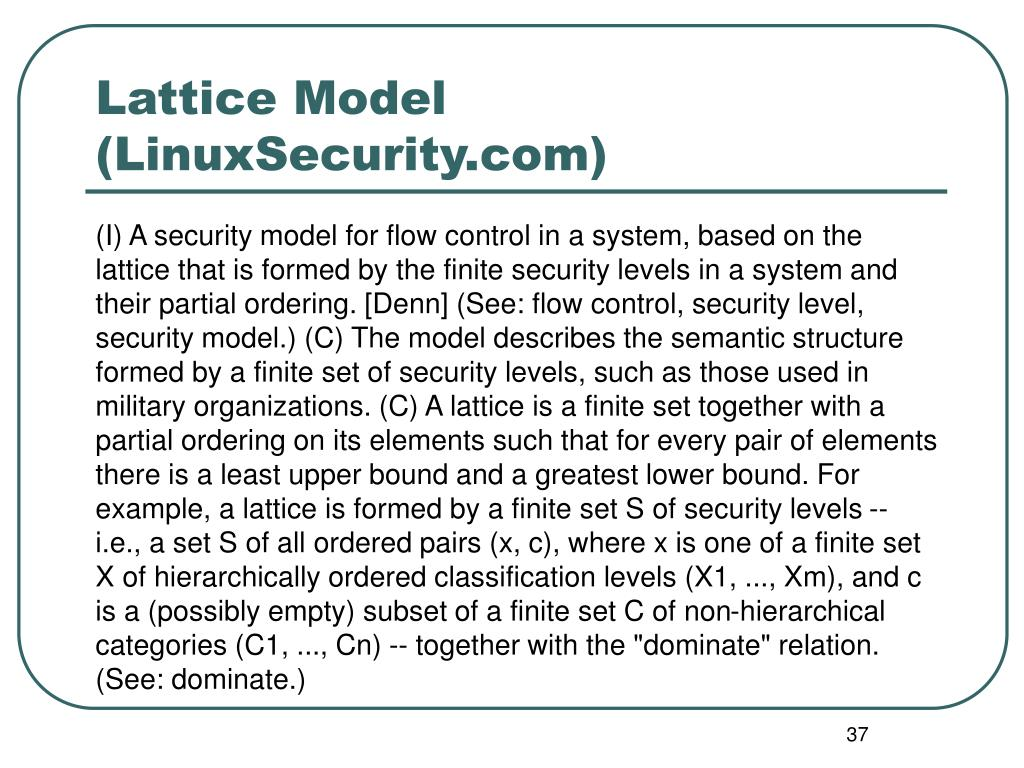 Lattice Model (LinuxSecurity.com)