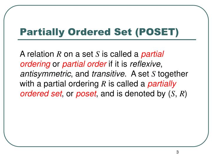 Partially ordered set poset