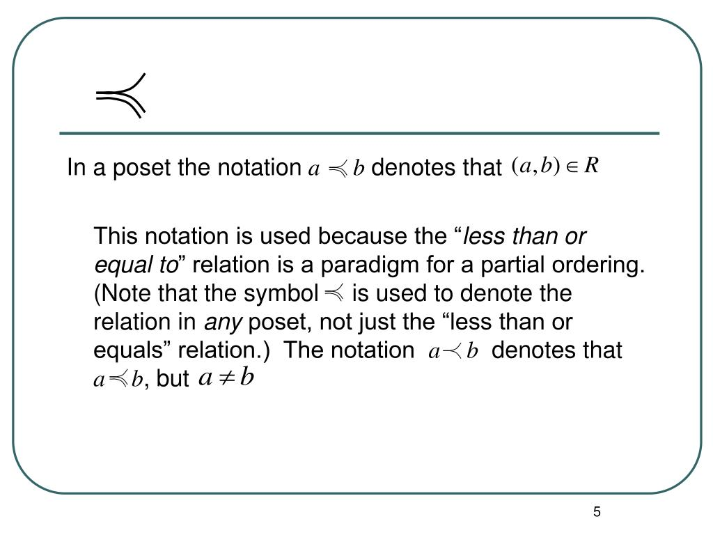 In a poset the notation