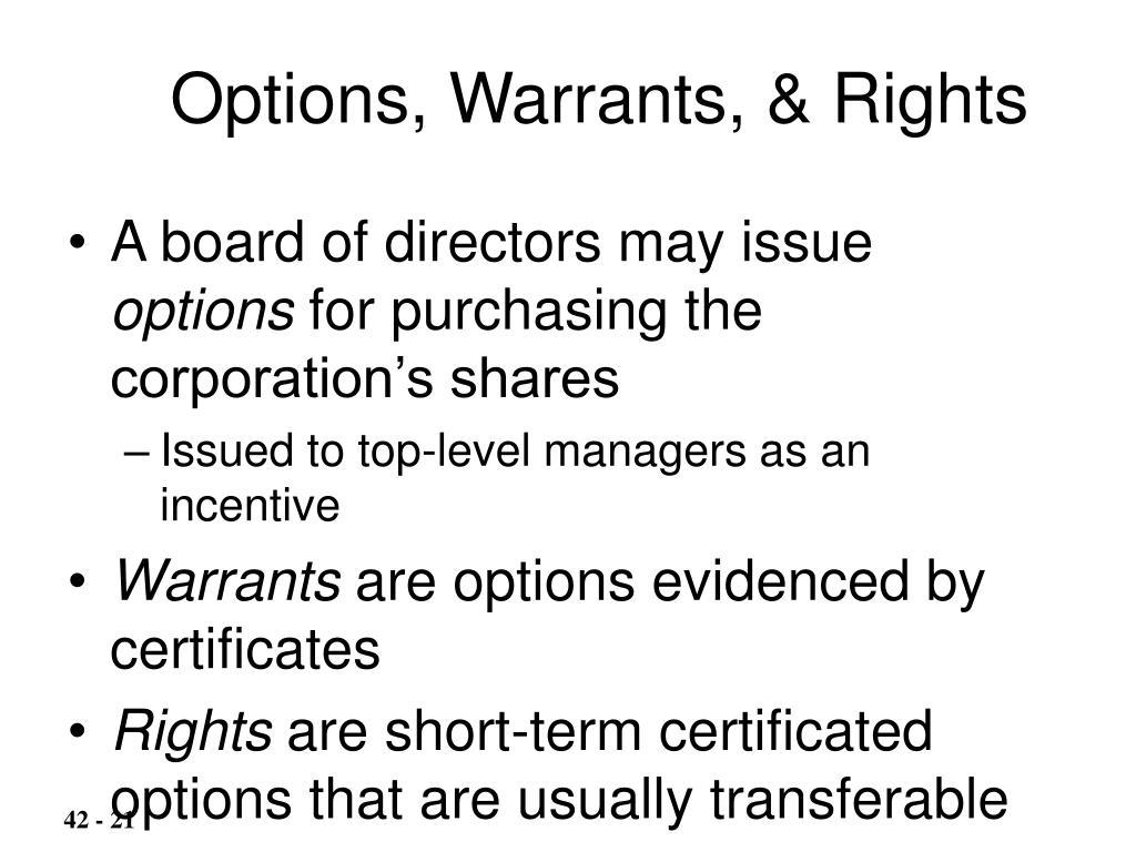 Options, Warrants, & Rights