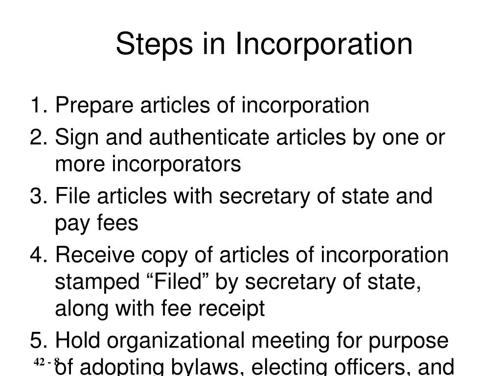 Steps in Incorporation