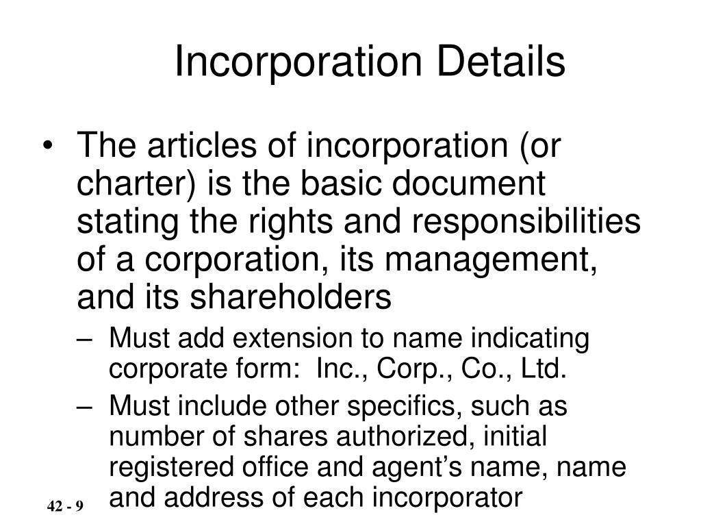 Incorporation Details