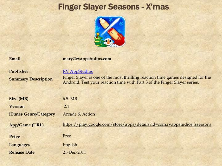Finger slayer seasons x mas