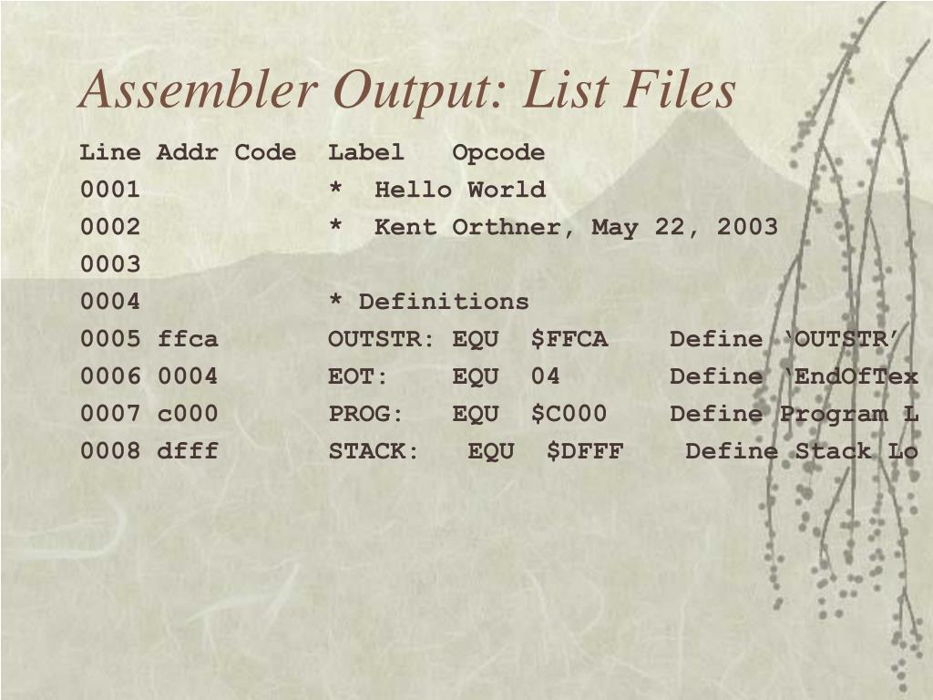 Assembler Output: List Files