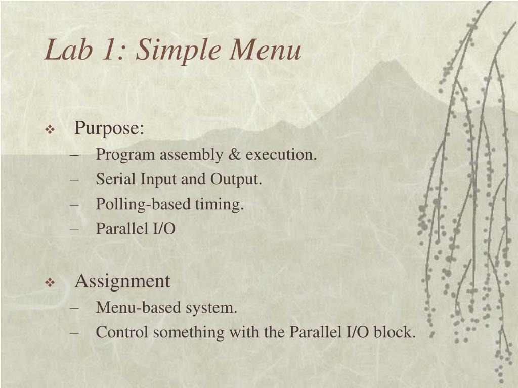 Lab 1: Simple Menu