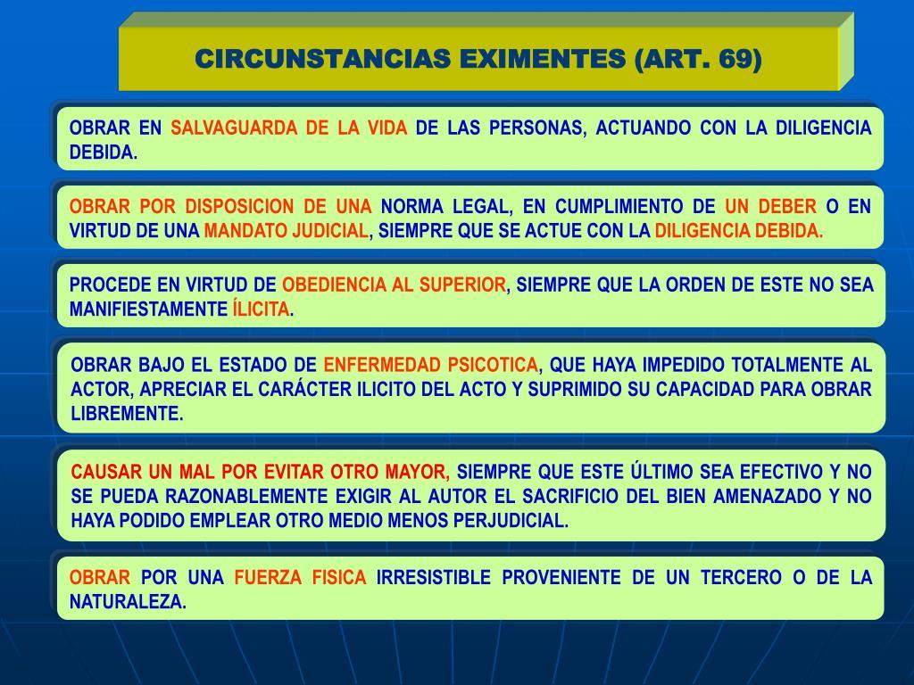 CIRCUNSTANCIAS EXIMENTES (ART. 69)