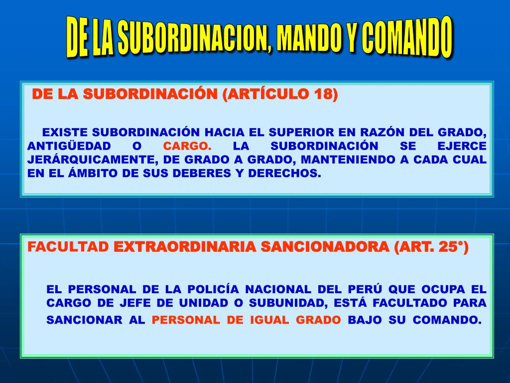 DE LA SUBORDINACION, MANDO Y COMANDO