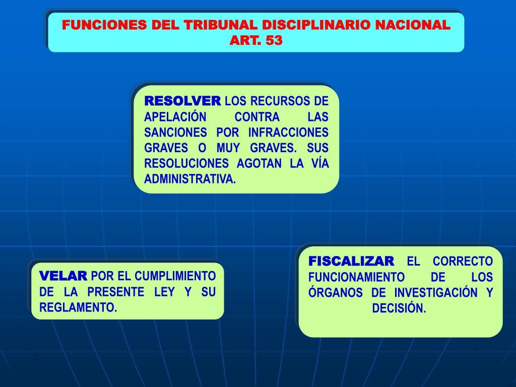 FUNCIONES DEL TRIBUNAL DISCIPLINARIO NACIONAL
