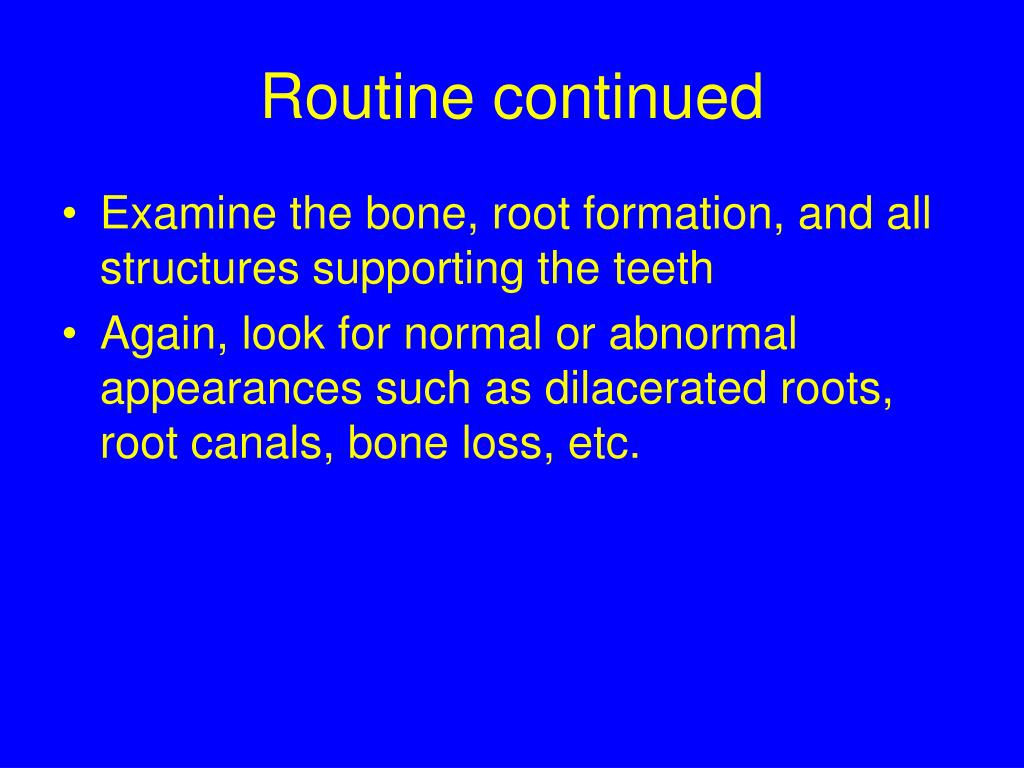 Routine continued