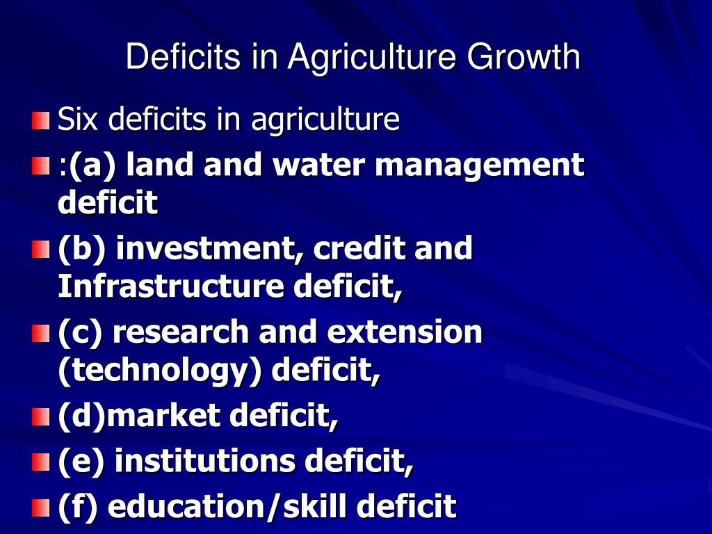 Deficits in Agriculture Growth