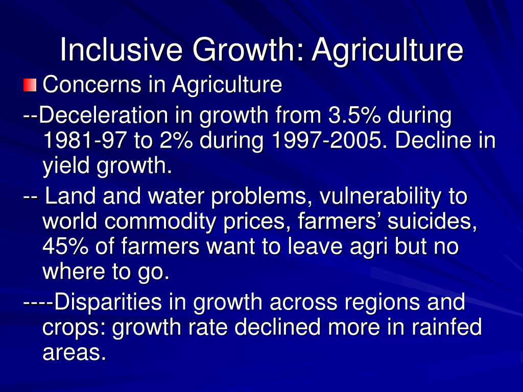 Inclusive Growth: Agriculture