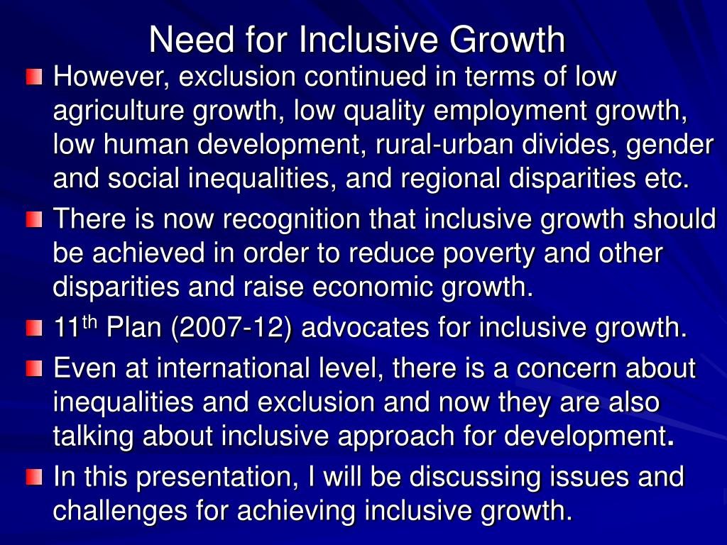 Need for Inclusive Growth