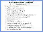 checklist errors observed number observed