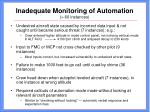inadequate monitoring of automation 60 instances