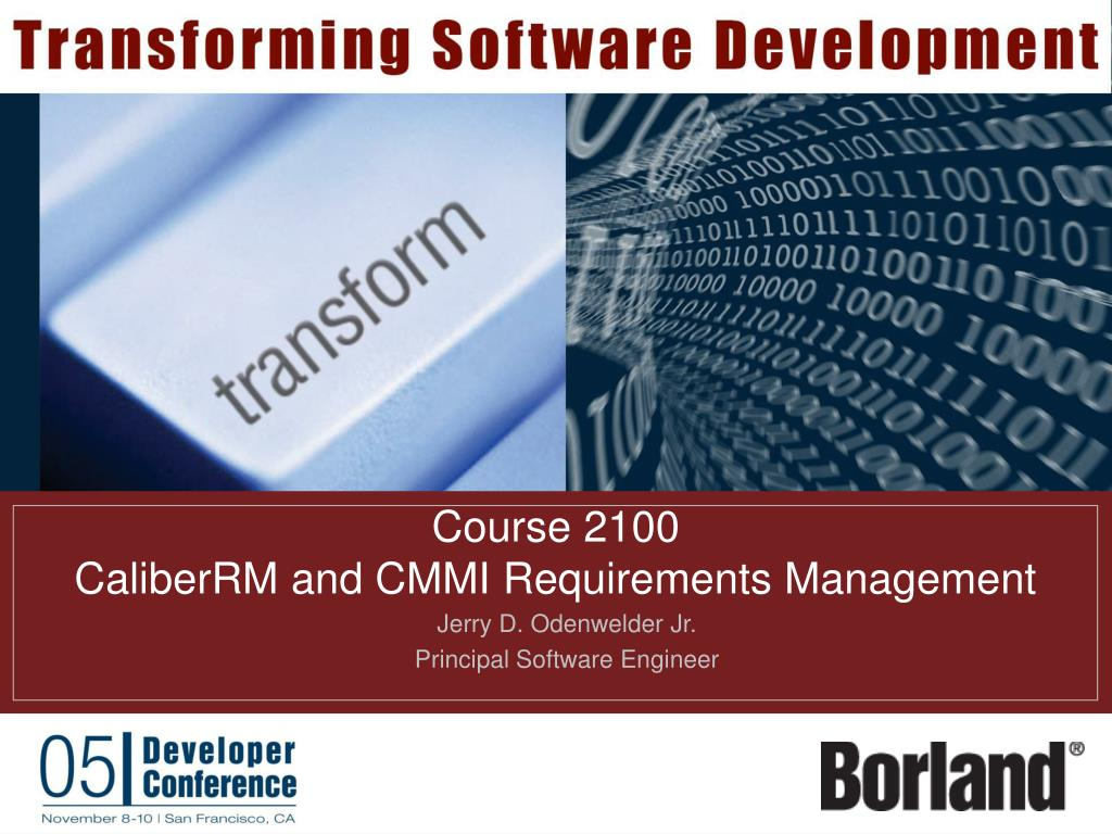 course 2100 caliberrm and cmmi requirements management l.