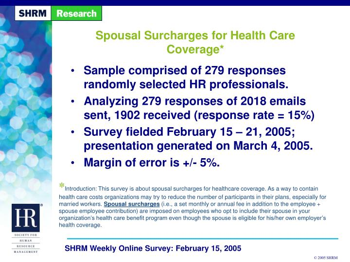 spousal surcharges for health care coverage n.