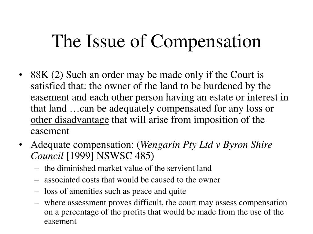 The Issue of Compensation