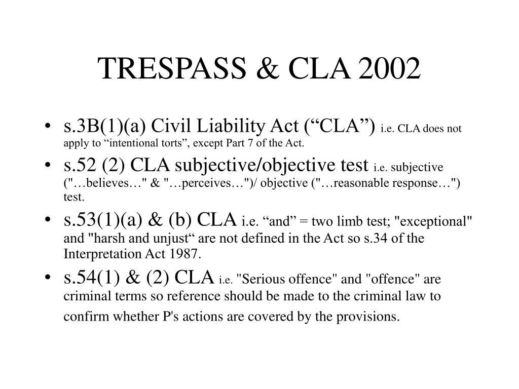 TRESPASS & CLA 2002