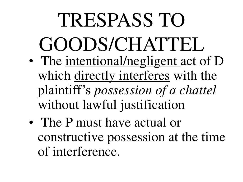 TRESPASS TO GOODS/CHATTEL