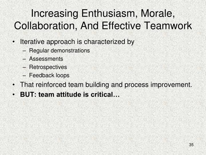 Increasing Enthusiasm, Morale, Collaboration, And Effective Teamwork