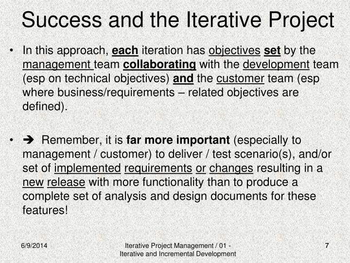Success and the Iterative Project