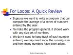 for loops a quick review6