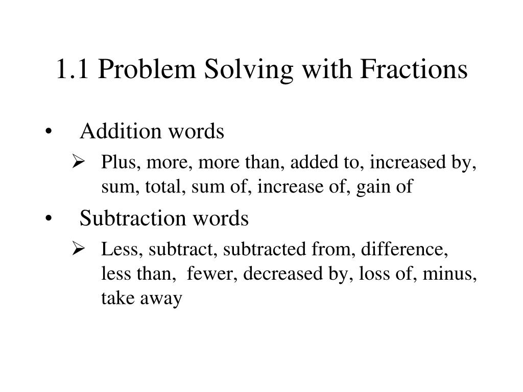 1 1 problem solving with fractions