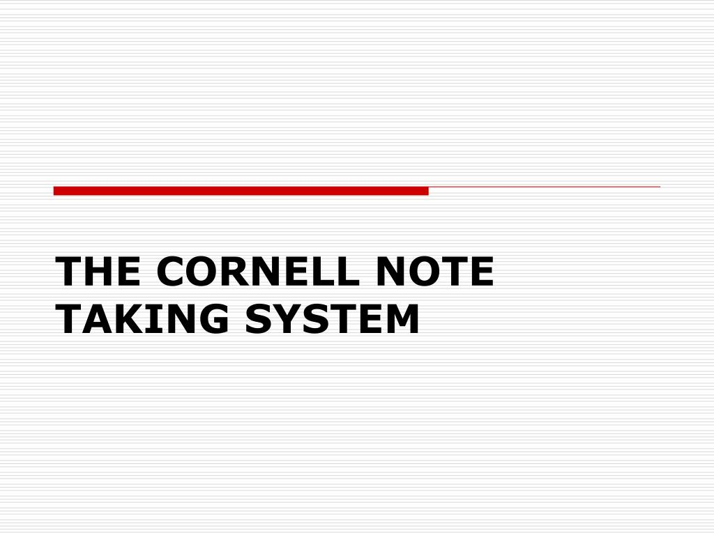 the cornell note taking system l.