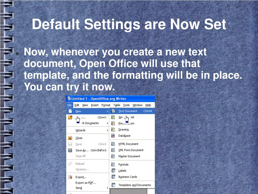 Default Settings are Now Set